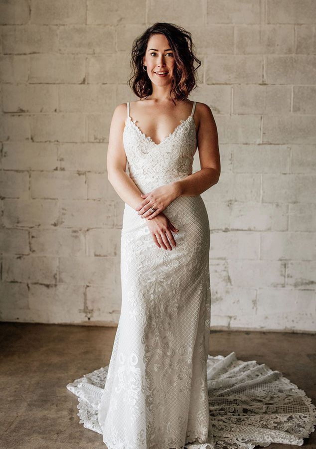 Emmy Mae Bridal wedding dresses available at top Los Angeles and Orange County bridal shop, Love and Lace Bridal Salon.