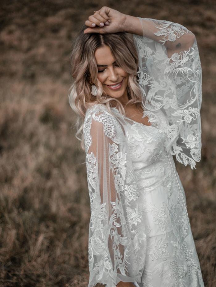Boho Bridal wedding dresses available at top Los Angeles and Orange County bridal shop, Love and Lace Bridal Salon.