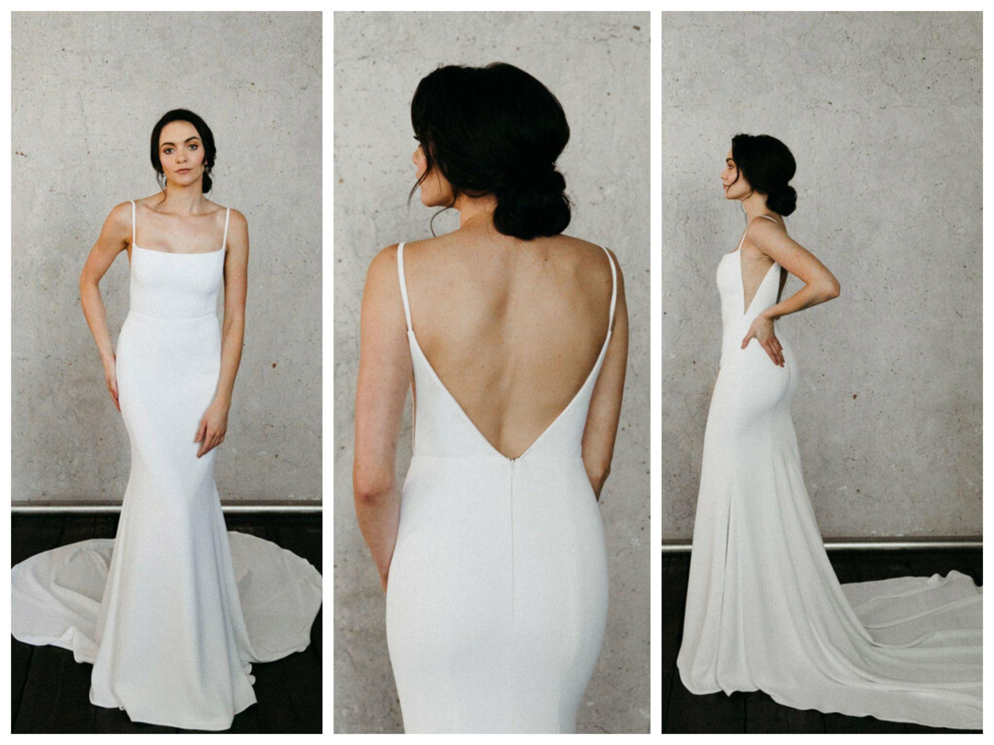 Wedding dresses for broad shoulders by top Los Angeles bridal shop, Love and Lace Bridal Salon: Alyssa Kristin's Nathalie