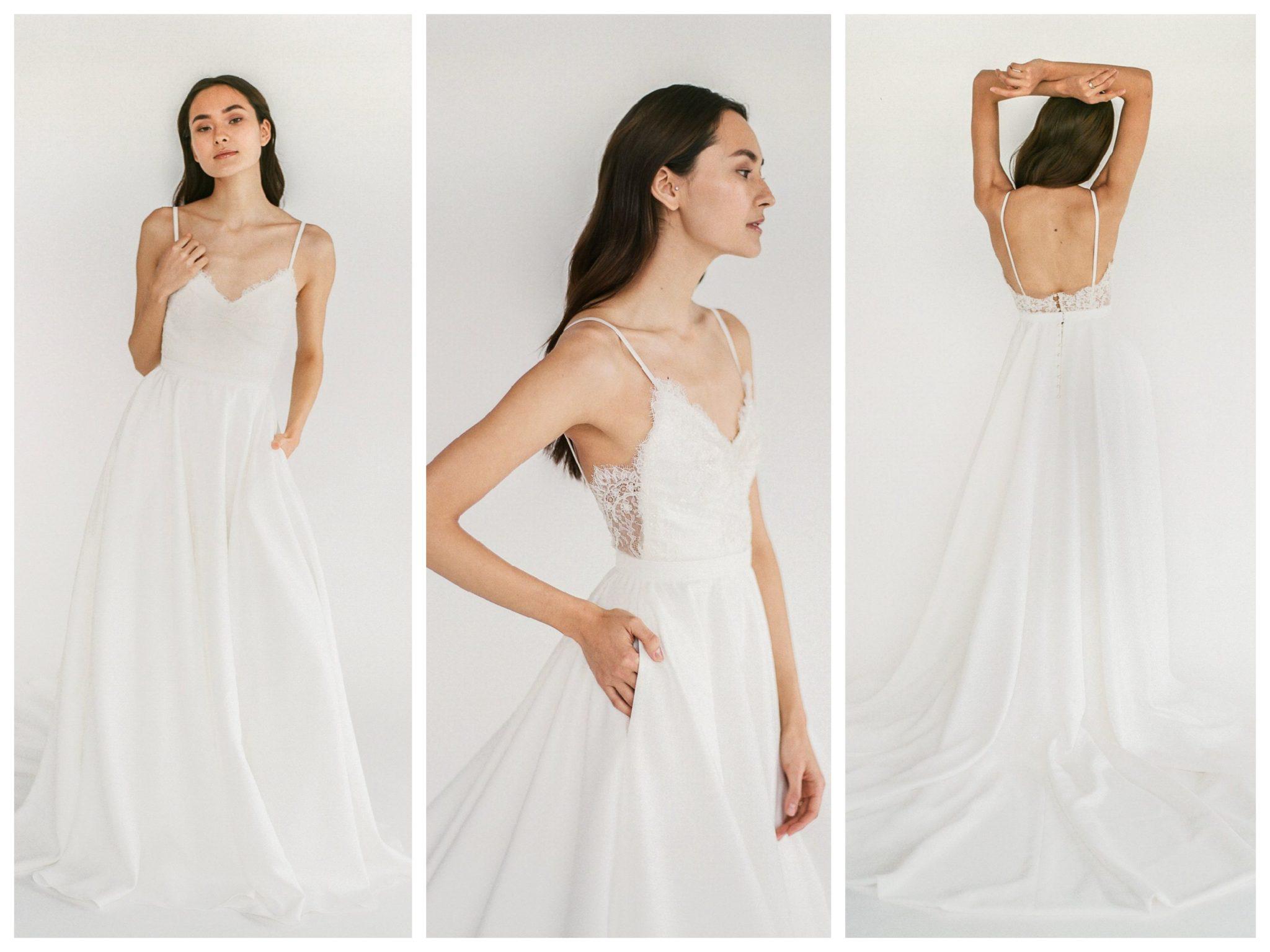 Wedding dresses for broad shoulders by top Los Angeles bridal shop, Love and Lace Bridal Salon: Truvelle Bridal's Trisha